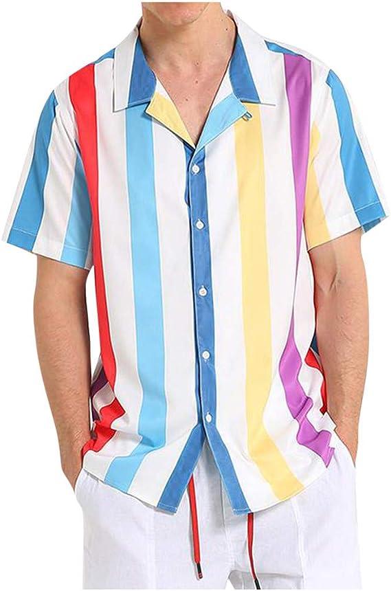 K-Youth Camisa Navidad Hombre T Shirt Rayas Casual Ropa ...