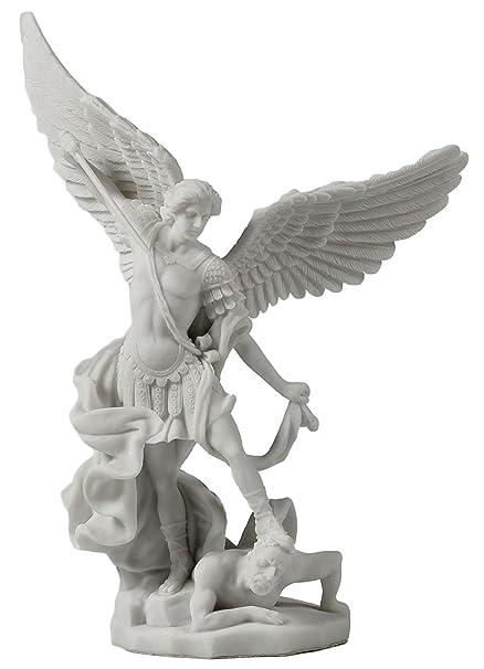 amazon com saint michael archangel slaying demon statue home kitchen