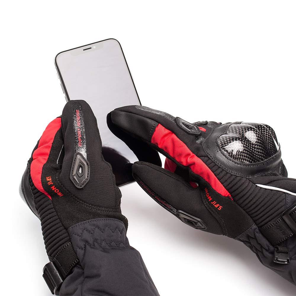 M, Nouveau noir IRON JIAS Moto Gants hiver chaud gants de protection 100/% imperm/éable Coupe-Vent GUANTES luvas /écran tactile