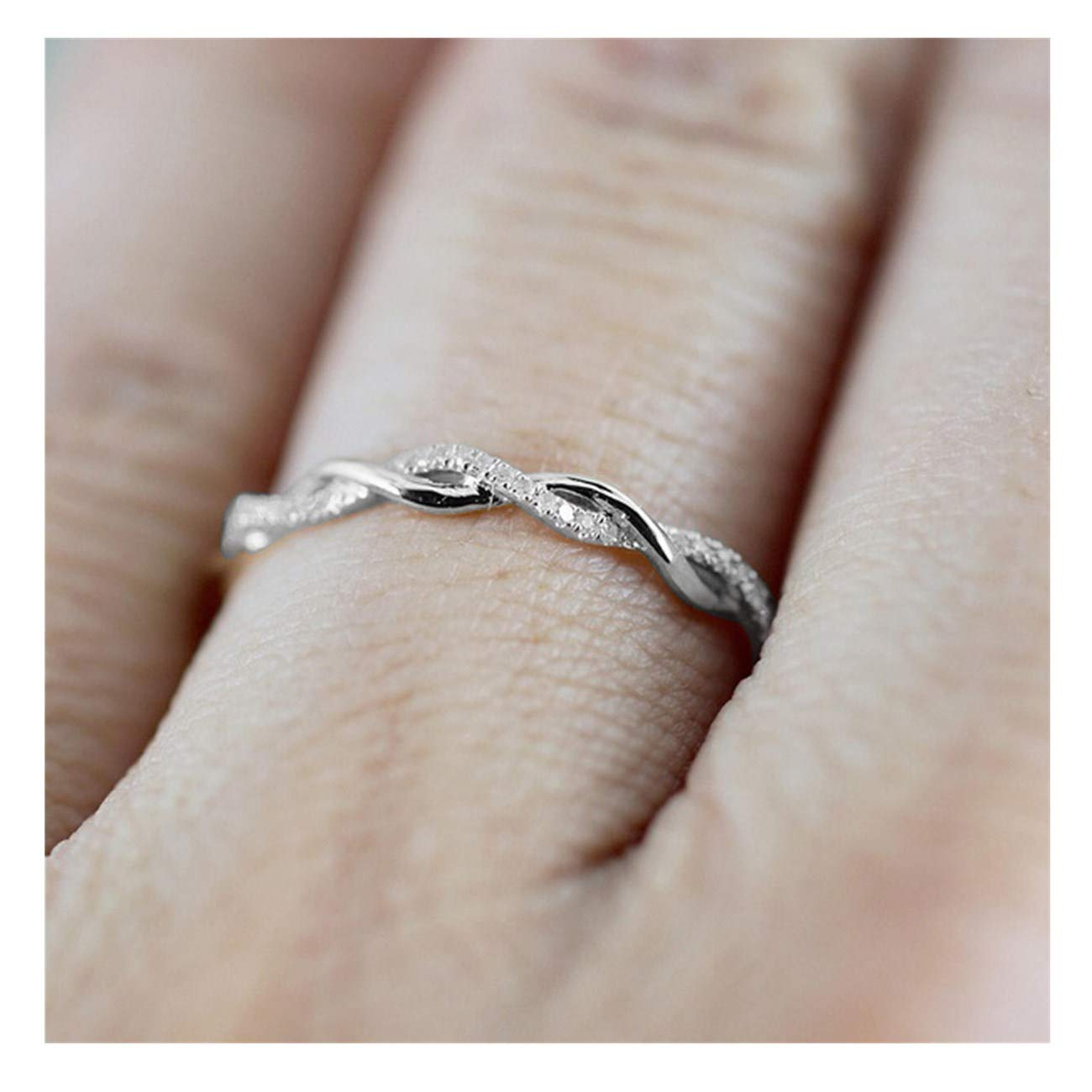 Challyhope Chic Twisted Shape Micro-Inserts Tiny Diamond Engagement Rings Stacking Matching Band Anniversary Ring (Silver, 9)