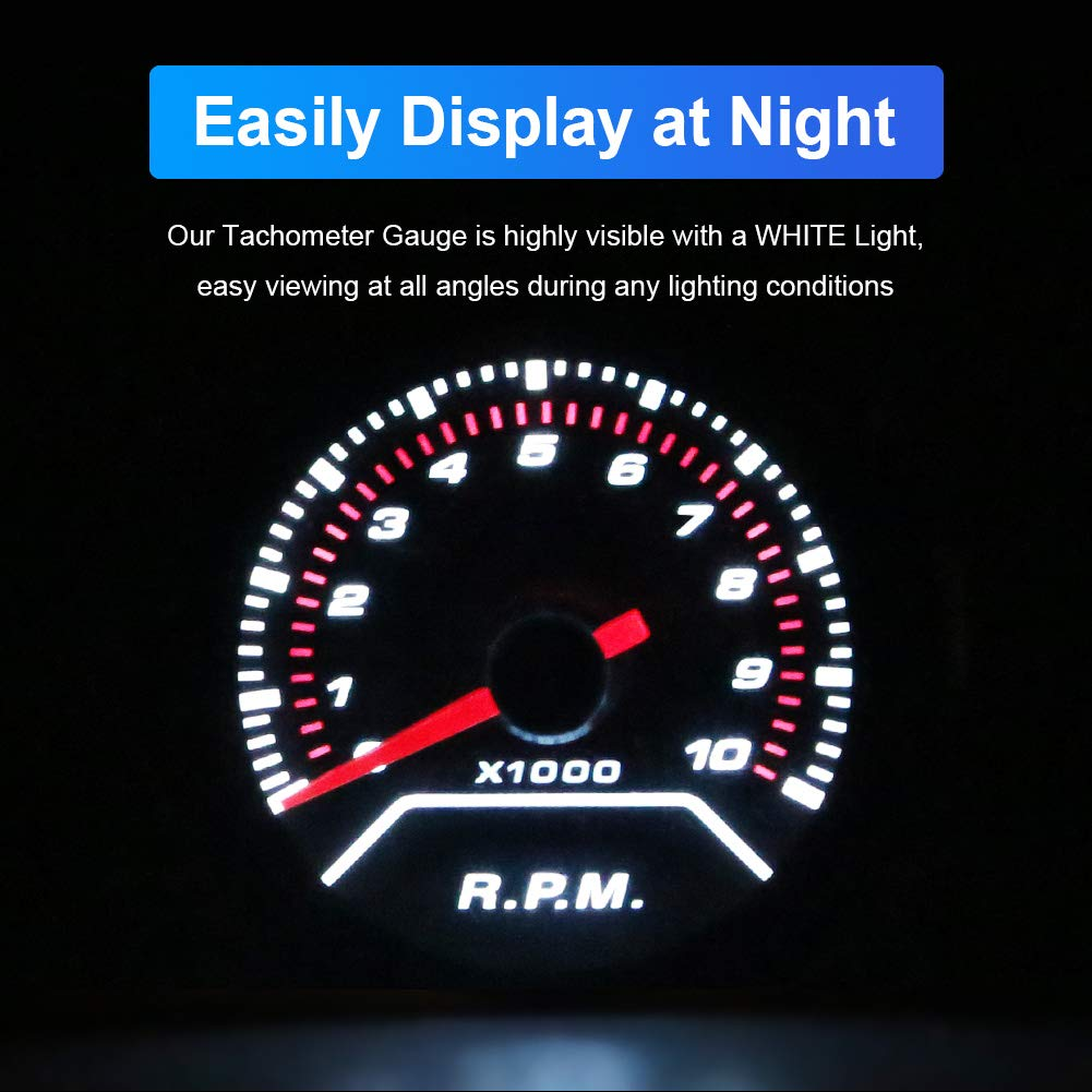 HOTSYSTEM 7 Color Tachometer Gauge Kit 0 to 10,000 RPM for 4-6-8 Cylinder Gas Powered Engines Pointer /& LED Digital Readouts 2-1//16 52mm Black Dial for Car Truck