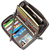 Dante Women's RFID Blocking Real Leather Zip Around Wallet Clutch Large Travel Purse Wristlet(Large Size Gray)