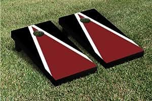 Maroon & Black Triangle Cornhole Boards Game Set (Matching Version 2)