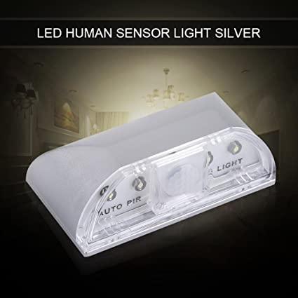 LED Sensor de movimiento de luz nocturna, 4 LED Mini Sensor de movimiento de infrarrojos