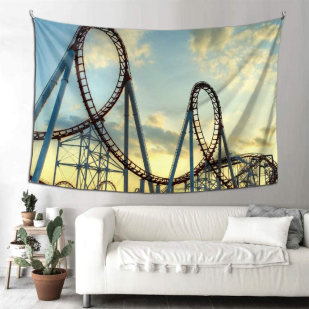 THKDSC Wall Decor for Kids Roller Coaster in Funny Bedroom Tapestry Wall Art Kitchen Decor 90x60 Inches(229x152cm) Wall Hanging Art Home for Living Room Bedroom