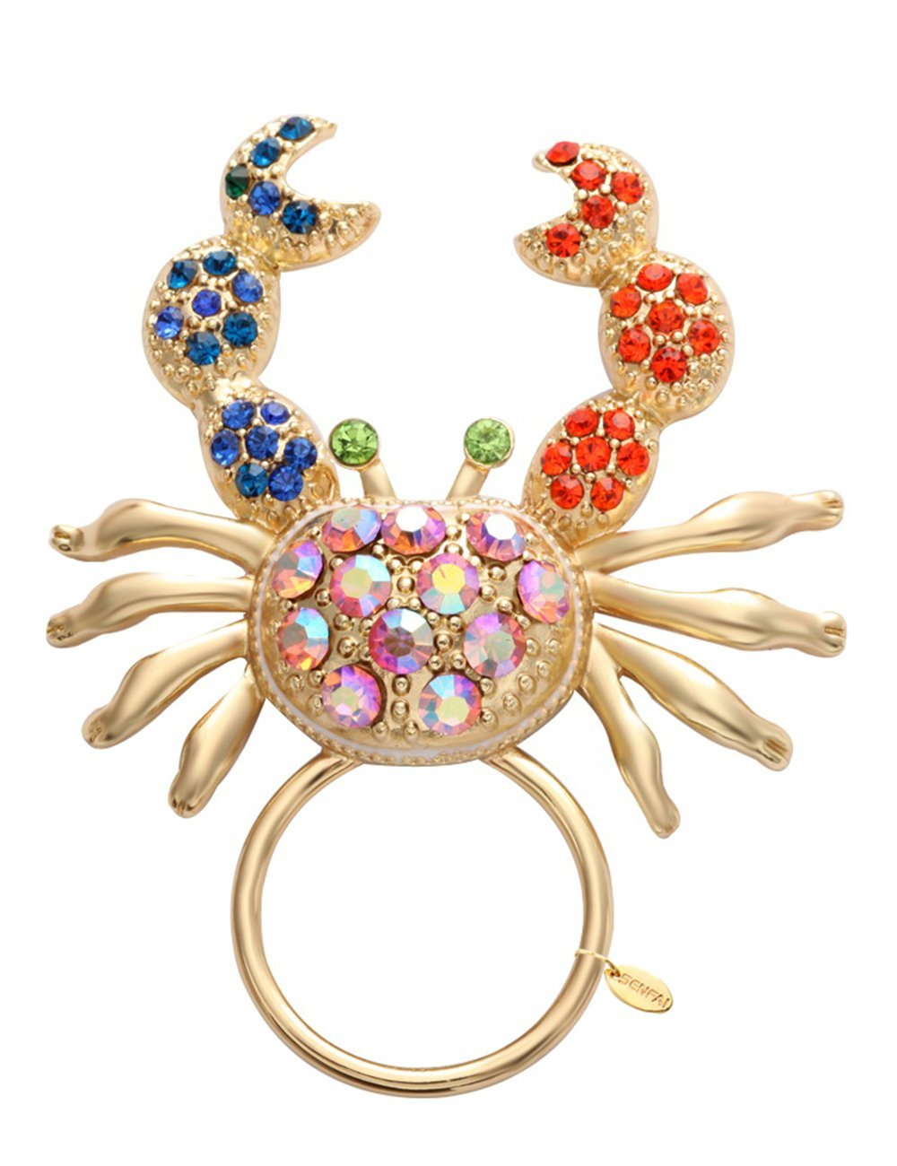 SENFAI Big Crab with Crystal Megnet Eyeglass Holder for Womens' Jewelry Brooch