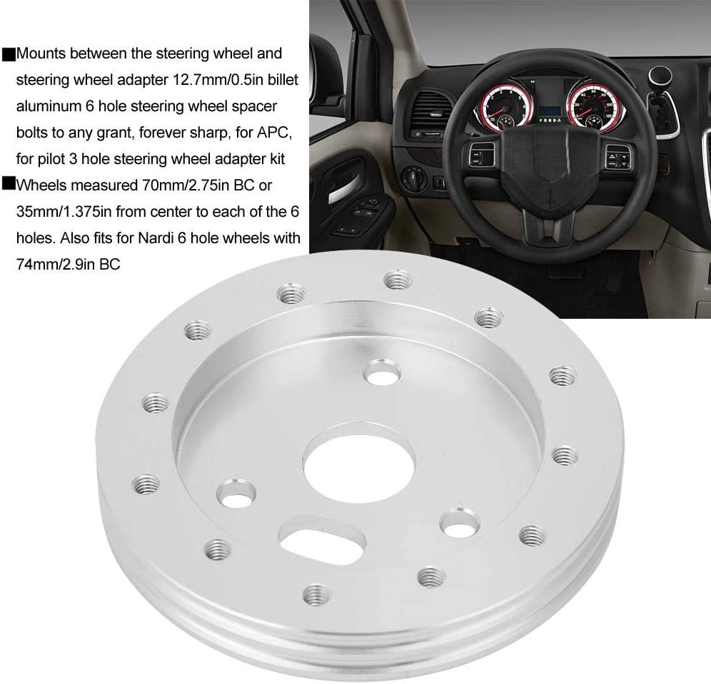 volante universale per garantire un cuscinetto distanziatore mozzo da 3 pollici da 0,5 pollici per adattatore a 6 fori Argento Cuscinetto per volante