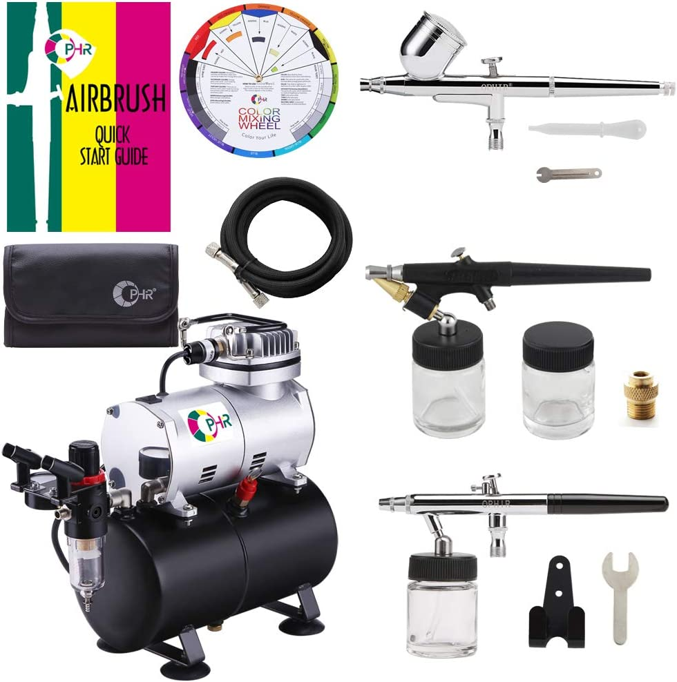 PRO 3 Tip 0.3 0.5 0.8mm Siphon Feed Dual-Action Airbrush Set Kit Tank Compressor