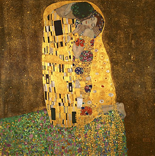 Gustav Klimt Reproductions - Wieco Art Extra Large The Kiss by Gustav Klimt Famous Oil Paintings Reproductions Stretched and Framed Modern Giclee Canvas Prints Artwork Pictures on Canvas Wall Art Ready to Hang for Home Decor XL