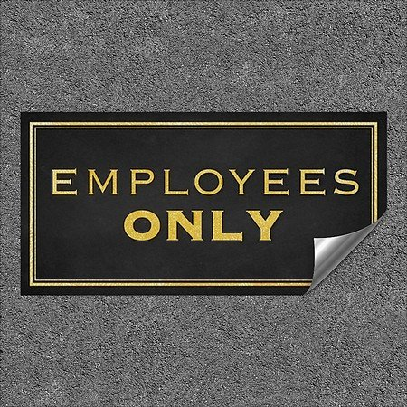 CGSignLab | ''Employees Only -Classic Gold'' Heavy-Duty Industrial Self-Adhesive Aluminum Wall Decal (5-Pack) | 96''x48''