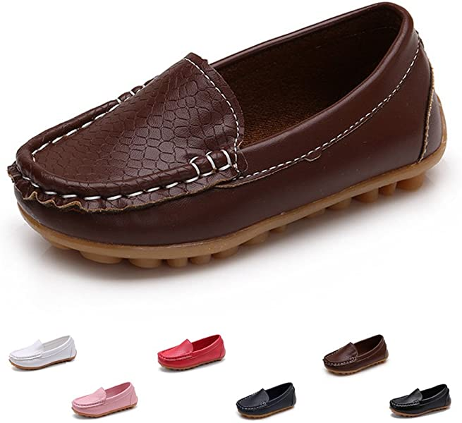 8a8deb129a4d Kids Boys Girls Leather Loafers Slip-On Oxford Flats Boat Dress Schooling  Daily Walking Shoes(Toddler Little Kid)