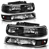 headlight assembly for chevy - Headlight Assembly for 99-02 Chevrolet Silverado 1500 2500 / 01-02 Chevy Silverado 1500HD 2500HD 3500HD / 00-06 Chevy Tahoe Suburban 1500 2500, with Bumper Lights (Passenger And Driver Side)