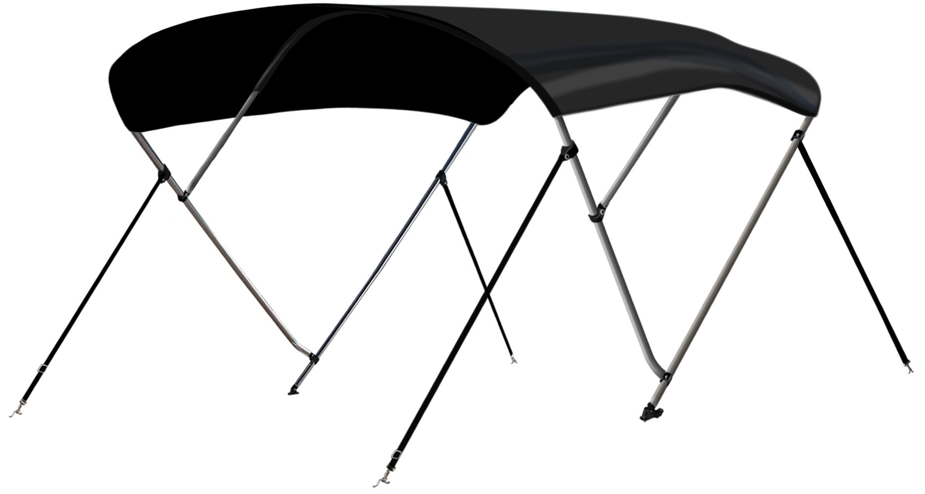 Leader Accessories 3 Bow Black 6'L x 46'' H x 54''-60'' W Bimini Top Boat Cover 4 Straps for Front and Rear Includes Mounting Hardwares with 1 Inch Aluminum Frame