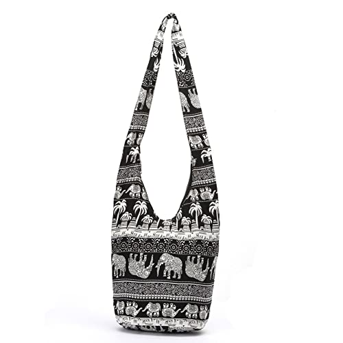 65eef1a64f7a Amazon.com  KARRESLY Bohemian Cotton Hippie Shoulder Bag Thai Top Zip Sling  Crossbody Bag Hobo Bag Handmade Messenger Purse(Black)  Shoes
