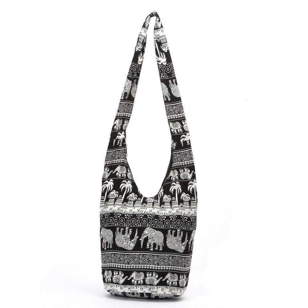 KARRESLY Bohemian Cotton Hippie Shoulder Bag Thai Top Zip Sling Crossbody Bag Hobo Bag Handmade Messenger Purse(Black)