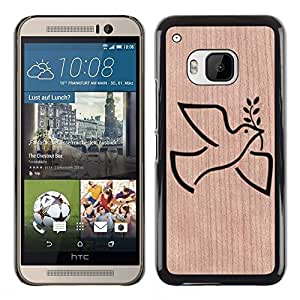 - Peace Dove Love Valentines - - Funda Delgada Cubierta Case Cover de Madera FOR HTC ONE M9 BullDog Case