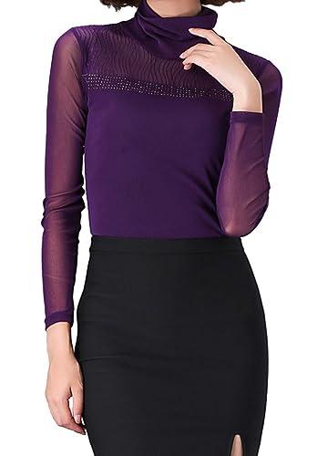 Helan Mujeres De cuello alto basico suave blusas camisa de la tapa