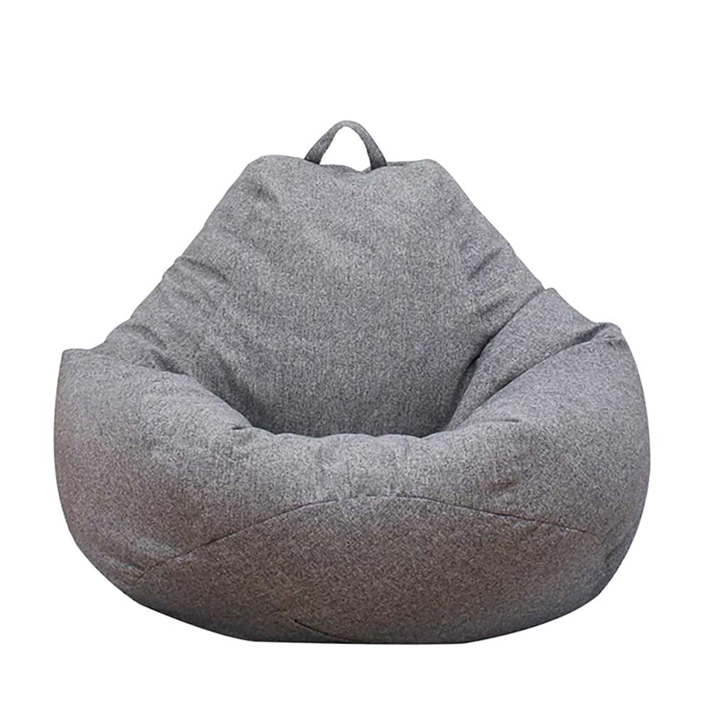 ODOMY Large Bean Bag Chair Sofa Couch Cover Without Filler Lazy Lounger High Back Bean Bag Chair with Three Side Pockets for Adults and Kids (Gray, L:100x120cm)