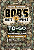 Bob's to-Go Wipes, Individually Wrapped Butt Wipes for Travel, Unscented Biodegradable Flushable Multipurpose Wipes, 48 Pack
