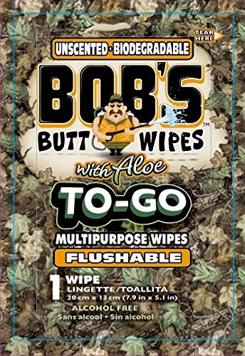 Bobs to-Go Wipes, Individually Wrapped Butt Wipes for Travel, Unscented Biodegradable Flushable