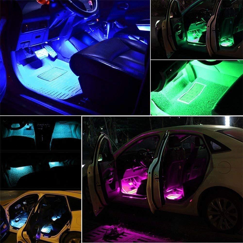 Car Charger 4pcs 48 LED DC 12V Multicolor Music Car Interior Light LED Under Dash Lighting Kit with Sound Active Function Wireless Remote Control Ecloud Shop Car LED Strip Light