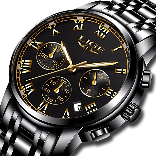 Analog Chronograph Watch (Watch,Men's Fashion Luxury Chronograph Sports Watches,Waterproof Analog Quartz Wrist Watch for Man Steel)