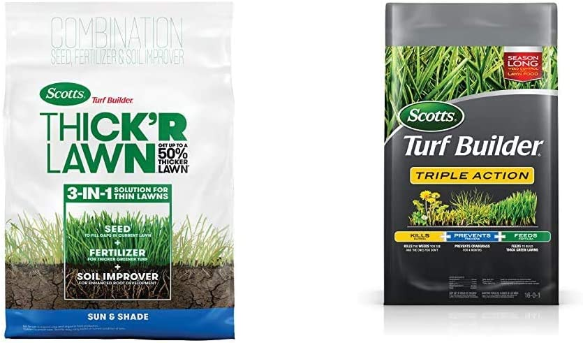 Scotts Turf Builder Thick'R Lawn Sun & Shade - 3 in 1 Lawn Fertilizer, 40 lb. & Turf Builder Triple Action - Weed Killer & Preventer, Lawn Fertilizer, Covers up to 4,000 sq. ft, 20 lb.