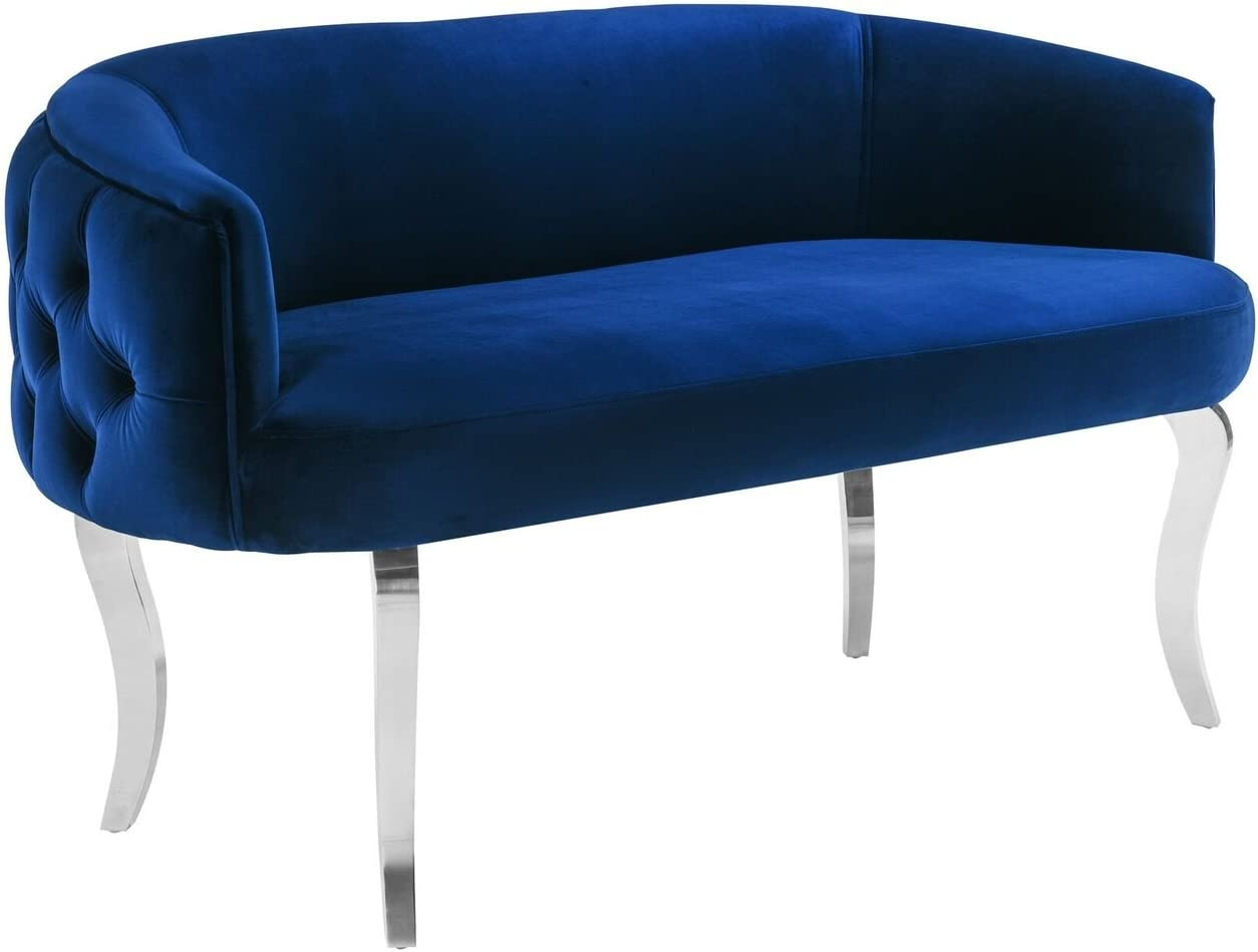 Tov Furniture The Adina Collection Contemporary Living Room Velvet Upholstered Loveseat, Navy with Silver Legs