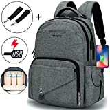 Diaper Bag Multi-Function Travel Backpack/Large Capacity Waterproof Nursing Bag for Baby Care/Mummy Maternity Baby Nappy Changing Bags with USB Charging Port for Moms & Dads(Light Grey)