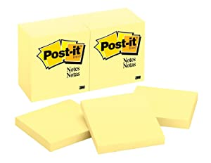 Post-it Notes, America's #1 Favorite Sticky Note, 3 x 3 Inch, Canary Yellow, 12 Count (654)