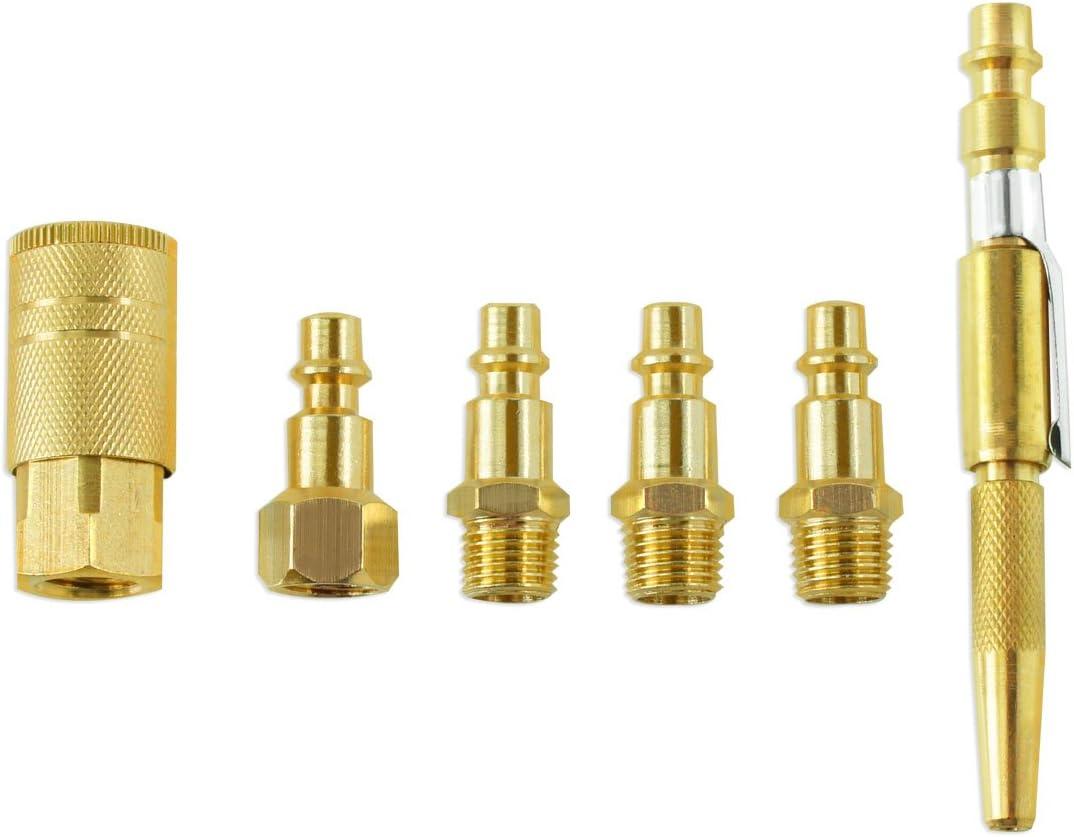 6pc Set Brass Air Coupler Set W//Blow Gun Male//Female Hose Fittings Compressor