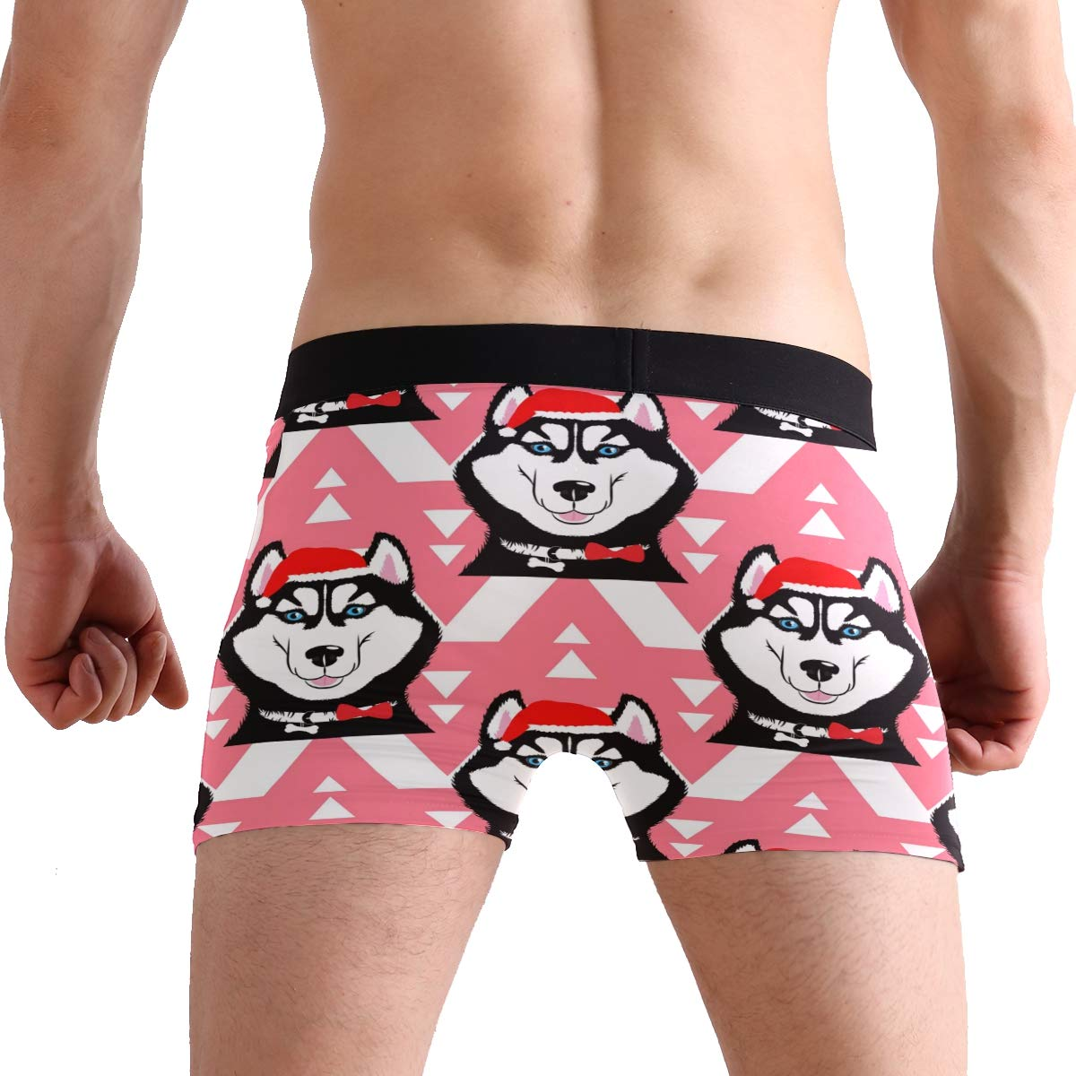 ZZKKO Christmas Husky Dog Mens Boxer Briefs Underwear Breathable Stretch Boxer Trunk with Pouch S-XL