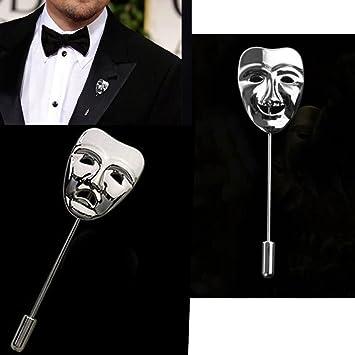Par chapas Máscaras Teatro Máscara Broche Chaqueta Rabia Furiosa/felicidad plata