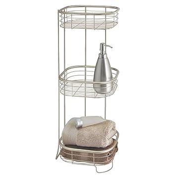 mDesign Estantería de baño – Mueble esquinero para la ducha de metal resistente con 3 baldas