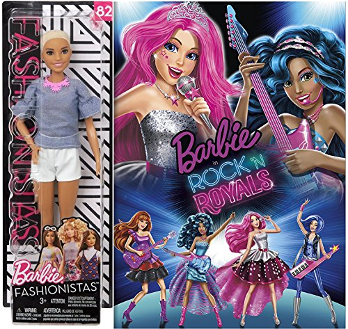 Barbie Fashionistas Girls Rock N Royals Animated Movie & Barbie Doll Set 12