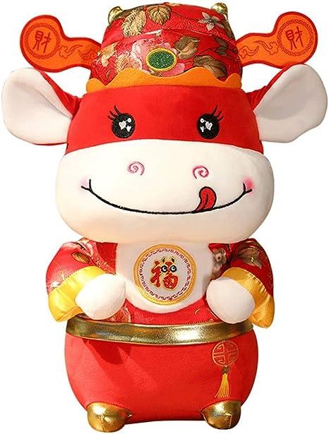 8 PCS 2021 Chinese New Year Plush Toy Chinese Zodiac Plush Lucky Ox Cattle Decoration Stuffed Zodiac Animal Mascot Toys Holiday Pendants Hanging Ornaments
