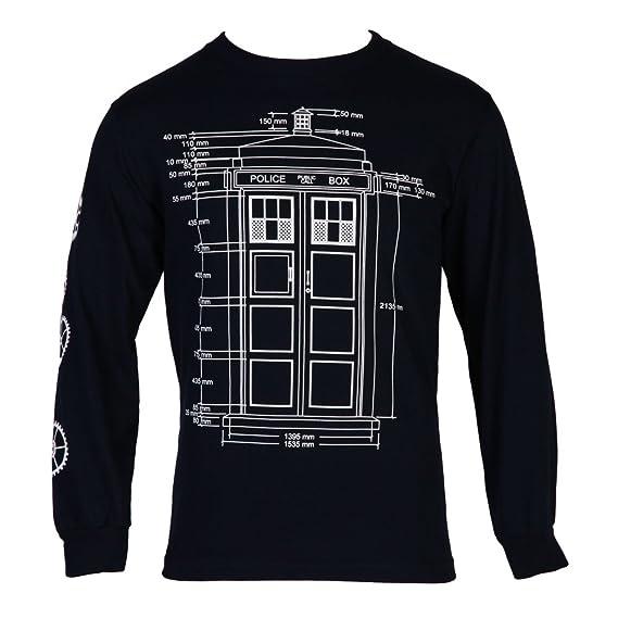 Doctor Who Tardis Specs Mens Blue Long Sleeve T-ShirtS