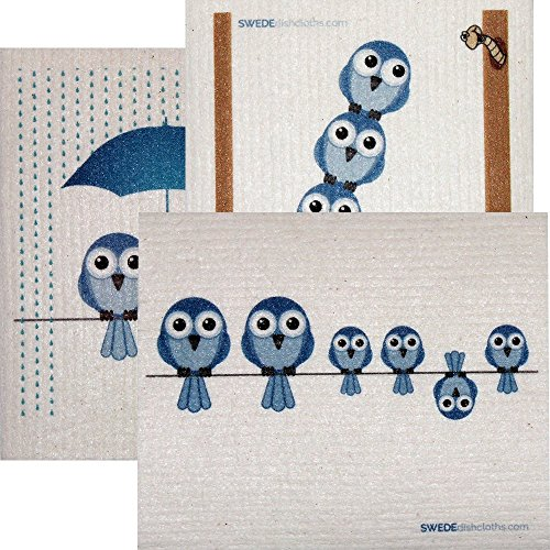 Mixed Blue Birds Set of 3 cloths (one of each design) Swedish Dishcloths | ECO Friendly Absorbent Cleaning Cloth | Reusable Cleaning Wipes