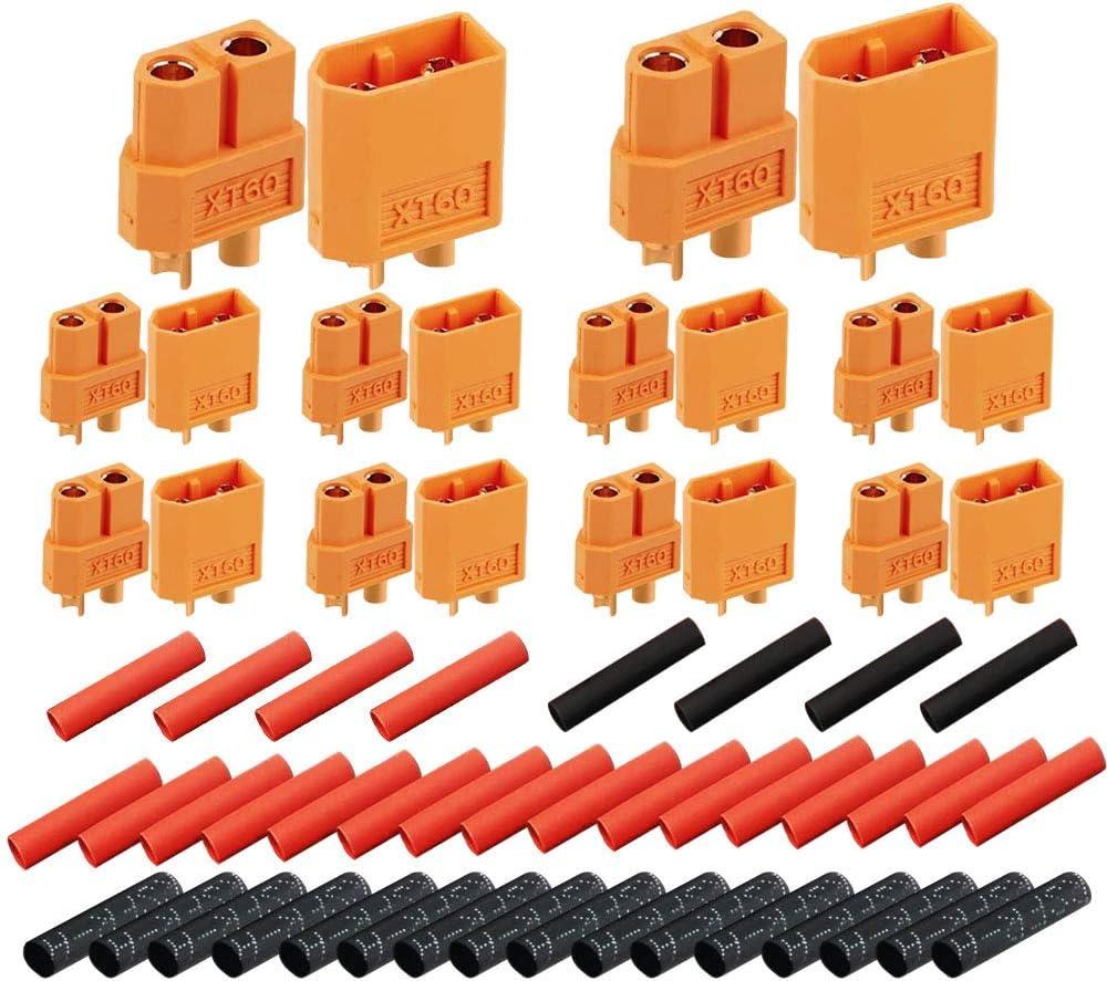 Senven 10Pares XT60 Conectores, XT-60 Macho Hembra Conectores de Bala enchufes de energía con termorretracción, para RC XT60 Lipo batería de Juguete, Alta Corriente Conector(10 Pares).
