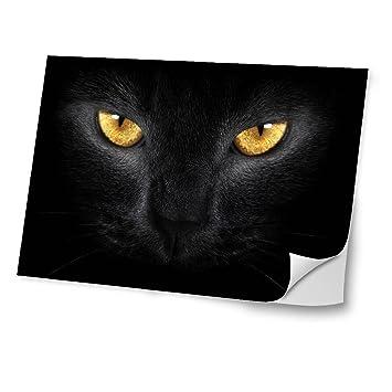 Gatos 10034, Gato Negro, Diseño Mejor Pegatina de Vinilo Protector con Efecto Cuero Extraíble
