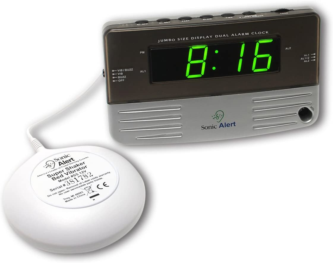 Sonic Alert SB200SS Alarm Clock, Battery Backup Wake with a Shake, Multicolored