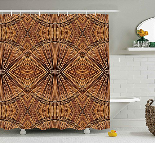 Shower Rod Ginger (ajnxcid Tribal Decor Shower Curtain, Boho Bamboo Pattern Primitive Eastern Ethnic Spiritual Jagged Wood Style Art Print, Fabric Bathroom Decor Set with Hooks, 70 Inches, Ginger)