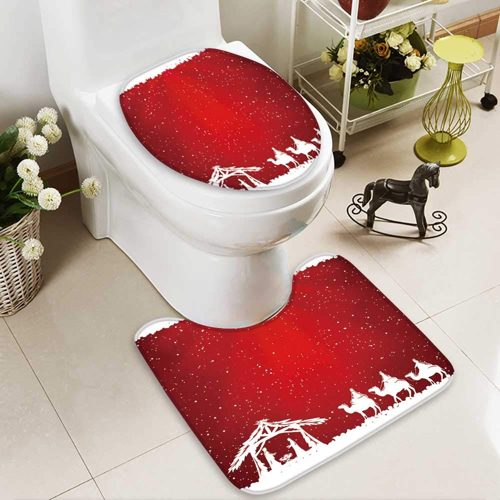 Analisahome Toilet cushion suit christian christmas scene on red background illustration Non slip, Microfiber Shag, Absorbent, Machine Washable