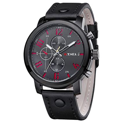 3b15832bdbbf Reloje Hombres Relojes deportivos de cuarzo para hombre Relojes de pulsera  de cuero de lujo reloj