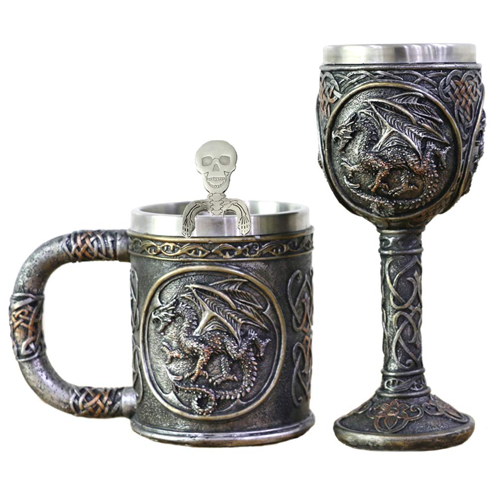Dragon Skull Mug Goblet Spoon Set of 3 With Stainless Steel - Steampunk Beer Stein Tankard Decor Gift or Coffee Mug & Wine Chalice Christmas, Anniversaries, Mother's & Father's Days