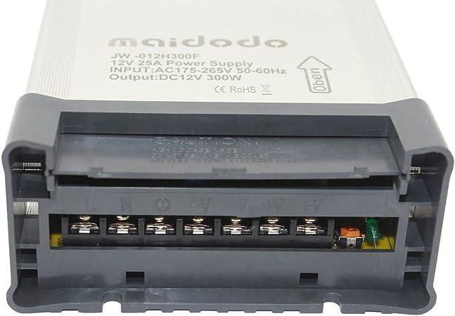 Maidodo AC 110V/220V a DC 12V 20A 240W IP53 Transformador de ...