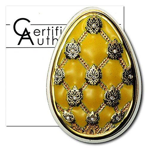 Cook Islands Imperial Faberge Egg in Yellow Cloisonné $5 2010 Proof Silver Crown COA .5948 ASW - Faberge Collectible Eggs Imperial