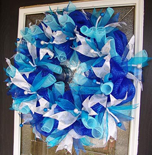 Dark Royal Blue Teal Silver Hanukkah or Christmas Deco Mesh...
