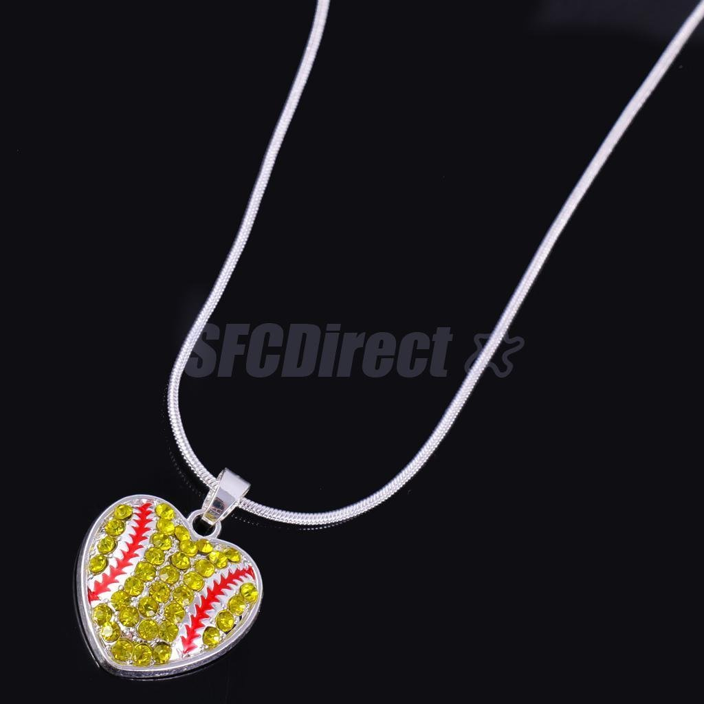 Fashion Women Unisex Chain Softball Necklace Sports Jewelry College Charms by sfcdirect (Image #3)