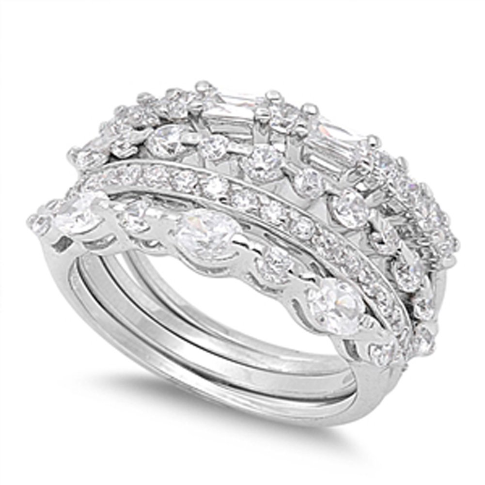 Stackable Wedding Set Clear CZ Unique Ring .925 Sterling Silver Band Sizes 4-11